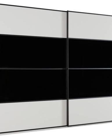 Cantus SKRIŇA S POSUVNÝMI DVERMI, čierna, biela, 340/235/68 cm - čierna, biela