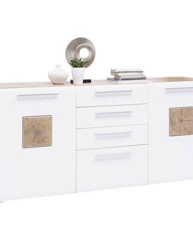 Hom`in KOMODA SIDEBOARD, biela, farby dubu, 180/82/43 cm - biela, farby dubu