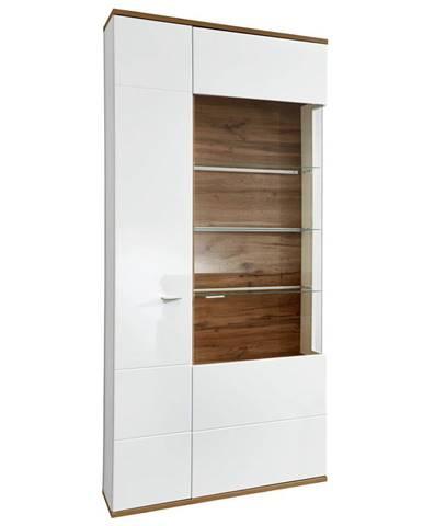 Stylife VITRÍNA, biela, farby dubu, 90/208/37 cm - biela, farby dubu