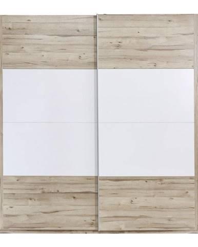 Ti`me SKRIŇA S POSUVNÝMI DVERMI, biela, farby dubu, 220,1/209,7/61,2 cm - biela, farby dubu