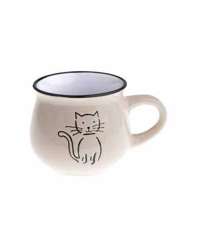 Keramický hrnček Mačka 230 ml, smotanová