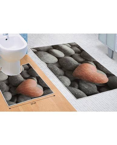 Bellatex Sada kúpeľňových predložiek Tmavé kamene 3D, 60 x 100 cm, 50 x 60 cm