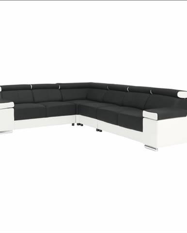 Rohová sedacia súprava biela/čierna pravá MARBELA 2+3