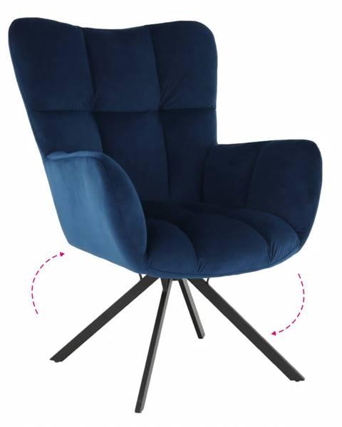 Kondela Dizajnové otočné kreslo modrá Velvet látka/čierna KOMODO