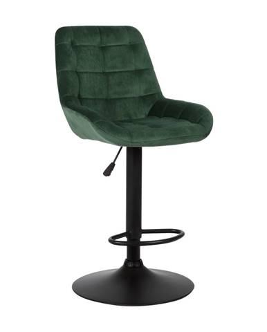 Barová stolička tmavozelená Velvet látka CHIRO