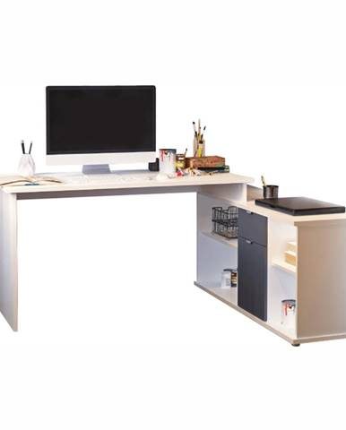 Písací stôl biela/sivá DALTON 2  NEW VE 02