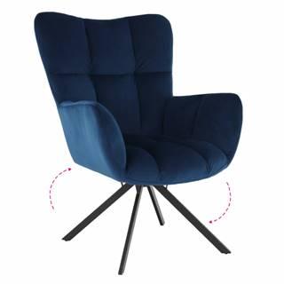 Dizajnové otočné kreslo modrá Velvet látka/čierna KOMODO