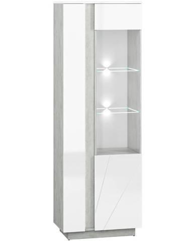 Vitrína Lumens 03P biely lesk/betón