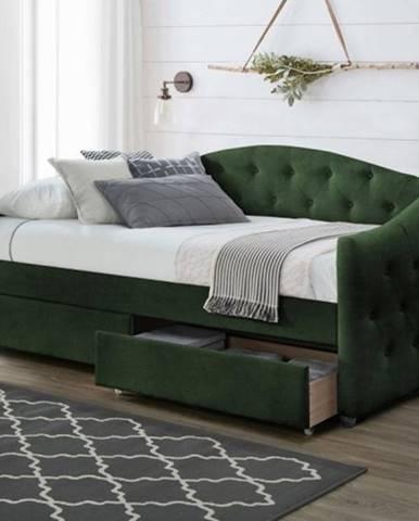 Čalúnená posteľ Belle 90x200, zelená, vrátane roštu a ÚP