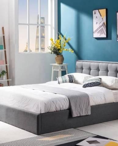 Čalúnená posteľ Denholm 160x200, sivá, vrátane roštu a ÚP
