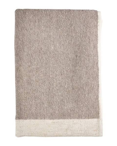 Zone Hnedá osuška s prímesou ľanu Zone Inu, 140 x 70 cm