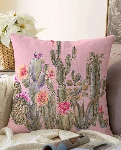 Ružová obliečka na vankúš s prímesou bavlny Minimalist Cushion Covers Blooming Cactus, 55 x 55 cm