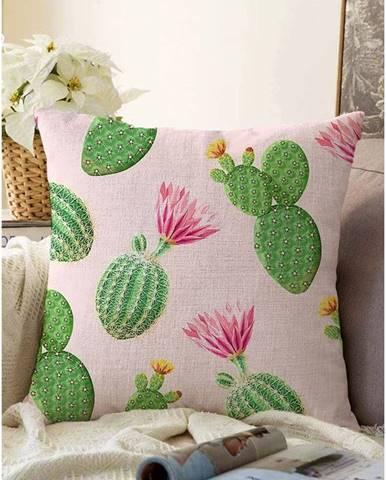 Ružovo-zelená obliečka na vankúš s prímesou bavlny Minimalist Cushion Covers Blooming Cactus, 55 x 55 cm