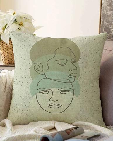 Zelená obliečka na vankúš s prímesou bavlny Minimalist Cushion Covers Chenille, 55 x 55 cm