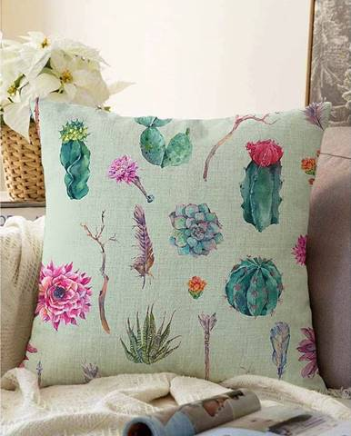 Zelená obliečka na vankúš s prímesou bavlny Minimalist Cushion Covers Succulent, 55 x 55 cm
