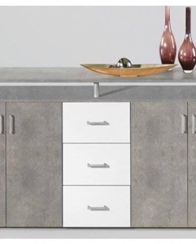 Široká komoda Lift, šedý beton/biela%