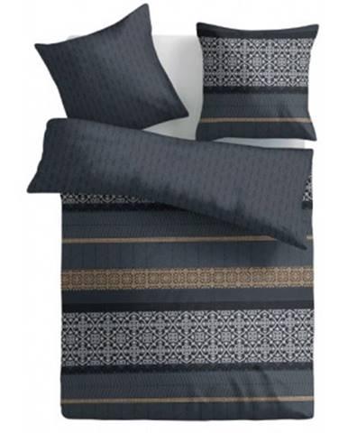 Obliečky 140x200 cm, šedé s ornamentami%