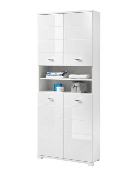 Sconto Vysoká kúpeľňová skrinka POOL biela vysoký lesk