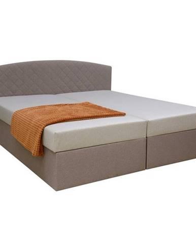 Čalúnená posteľ LEXIA béžová/hnedá, 170x195