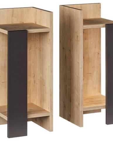 Nočný stolík ELOS dub/antracit, sada 2 kusov