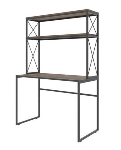 Písací stôl s regálom MERCAN borovica/čierna