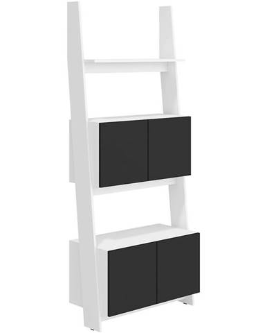 Regál Rack 80-2D Biely/čierna