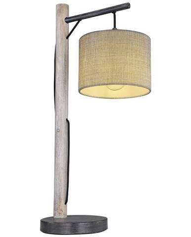 Stolná Lampa Sivá Drevo/textil