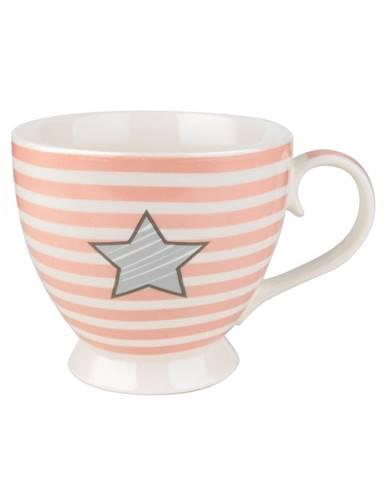 Porcelánový hrnček Striped Star 460 ml, růžová ,