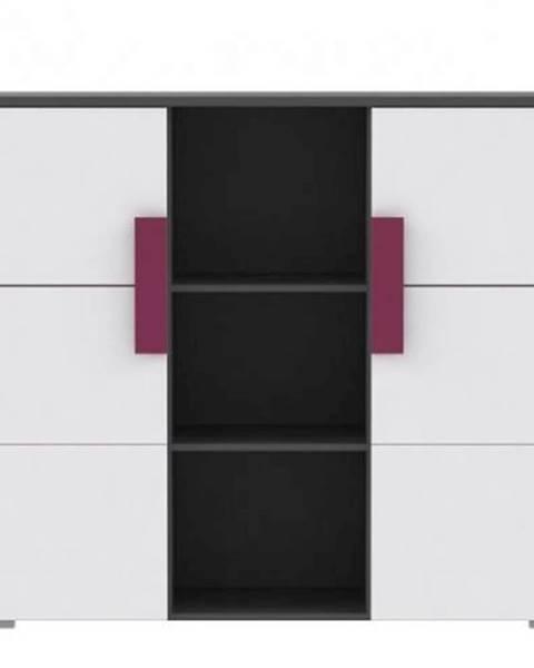 Kondela Kombinovaná komoda sivá/biela/fialová LOBETE 43