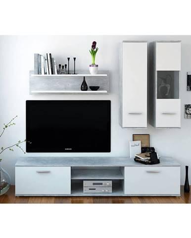 Obývacia stena betón/biela WAW NEW