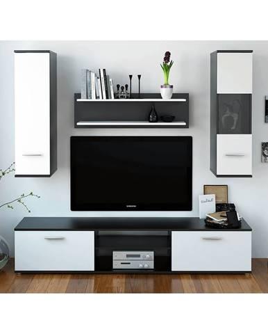 Obývacia stena čierna/biela WAW NEW