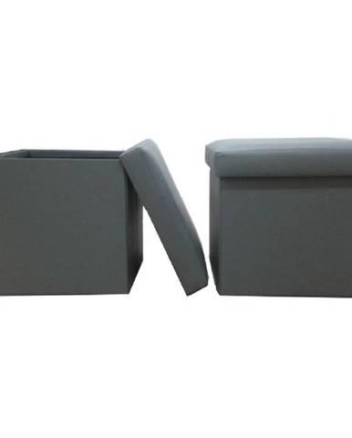 Skladací taburet ekokoža sivá TELA NEW