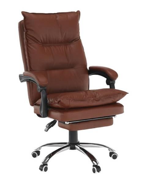 Kondela Kancelárske kreslo s podnožou ekokoža hnedá DRAKE