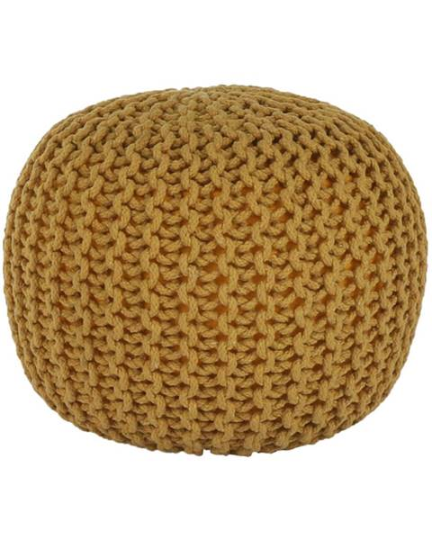 Tempo Kondela Pletený taburet horčicová bavlna GOBI TYP 2