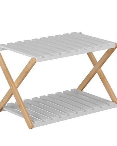 2-poličkový regál prírodný bambus/biela PEORIA TYP 1