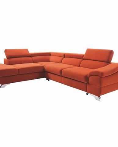 Rohová rozkladacia sedačka terakota ľavá LEGAS