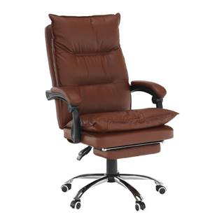 Kancelárske kreslo s podnožou ekokoža hnedá DRAKE