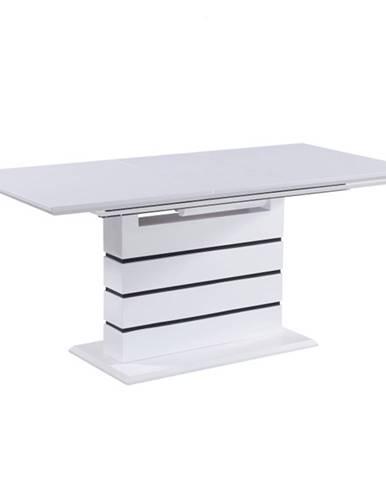 Jedálenský rozkladací stôl biela s vysokým leskom HG  MEDAN rozbalený tovar