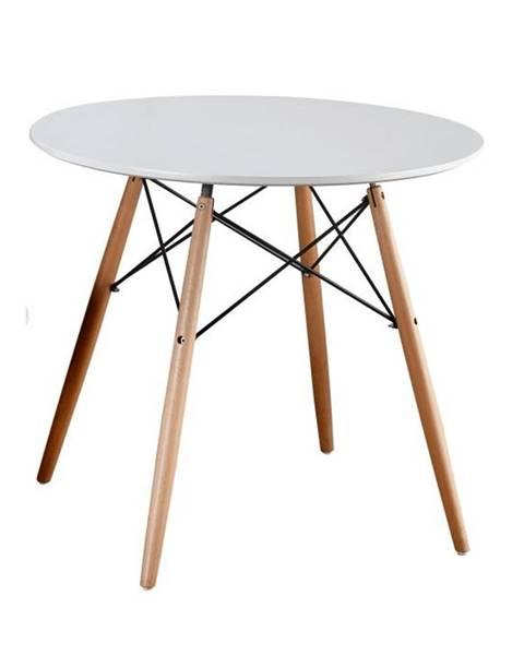 Kondela Jedálenský stôl biela/buk GAMIN NEW 90 poškodený tovar