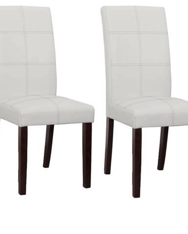 2 kusy jedálenská stolička biela/tmavý orech RORY 2 NEW poškodený tovar