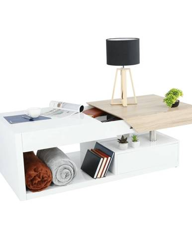 Konferenčný stolík biely lesk/dub sonoma MELIDA poškodený tovar