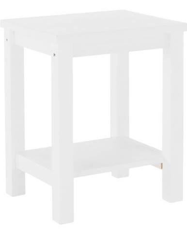 Nočný stolík masív/biela FOSIL poškodený tovar