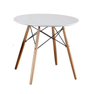 Jedálenský stôl biela/buk GAMIN NEW 90 poškodený tovar