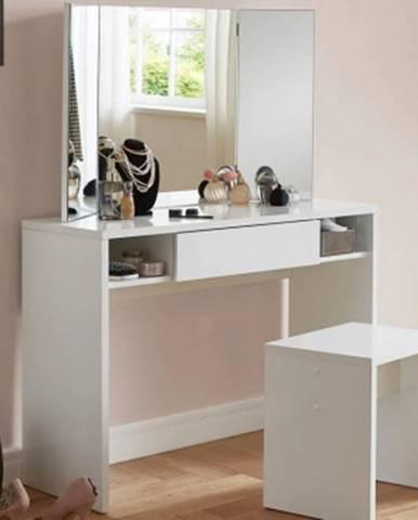 Kozmetický stolík so zrkadlom Jolien, biely%
