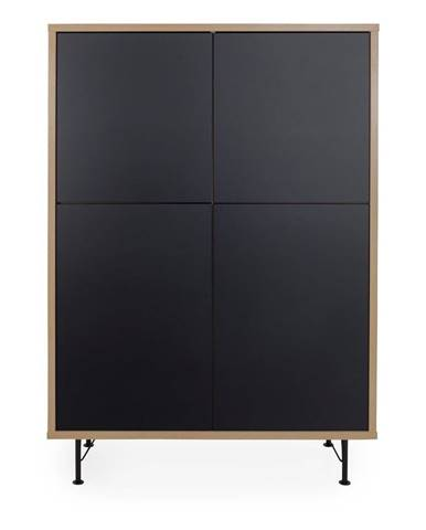 Čierna skriňa Tenzo Flow, 111 x 153 cm
