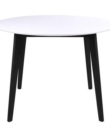 Jedálenský stôl s bielou doskou a čiernymi nohami z kaučukového dreva HoNordic Vojens, ⌀105cm