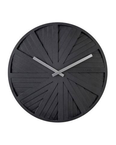 Čierne nástenné hodiny Karlsson Slides, ø40cm