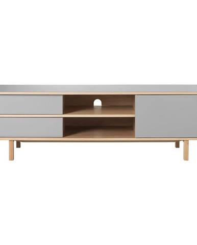 Sivý TV stolík s nohami z dubového dreva Unique Furniture Bilbao