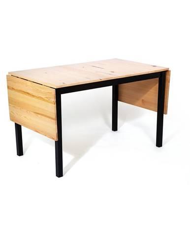 Borovicový rozkladací jedálenský stôl s čiernou konštrukciou loomi.design Brisbane, 120 (200) x 70 cm
