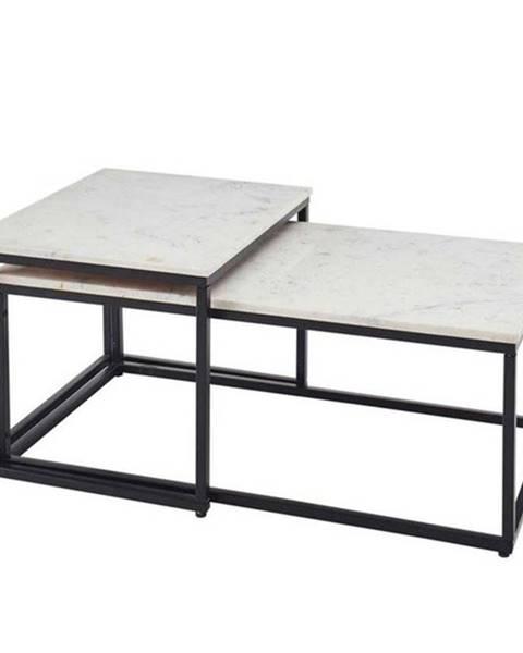 Sconto Konferenčný stolík KENO čierna/mramor, 2ks